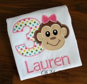 Girl Monkey Birthday Shirt
