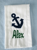 Personalized Burp Cloth - Anchor Applique