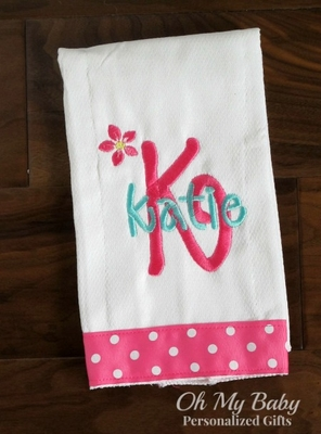 Personalized Burp Cloth Blossom Name