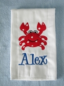 Personalized Burp Cloth - Crab Applique