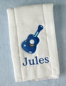 Personalized Burp Cloth - Guitar Applique