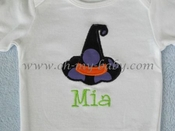 Personalized Halloween Witch Hat Applique