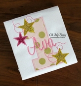Pink and Gold Birthday Stars