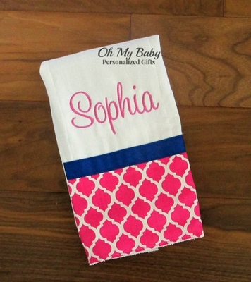 Pink and Navy Burp Cloth