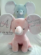 Personalized Stuffed Elephant Birth Announcement