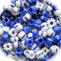 Seed Beads Rocailles Opaque Blue/White with Stripes Mix 6/0 Sold per pkg of 40 grams