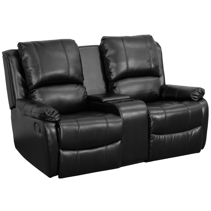 Allure Series 2 Seat Reclining Pillow Back Black Leather