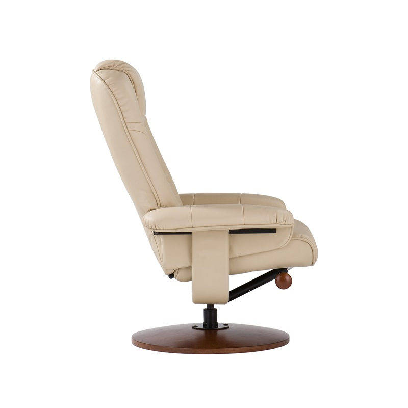 Bonded Leather Birch Base Swivel Glider Reclining Chair With Position Lock An