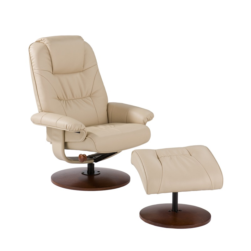 Bonded leather birch base swivel glider reclining chair for Recliner chairs with ottoman