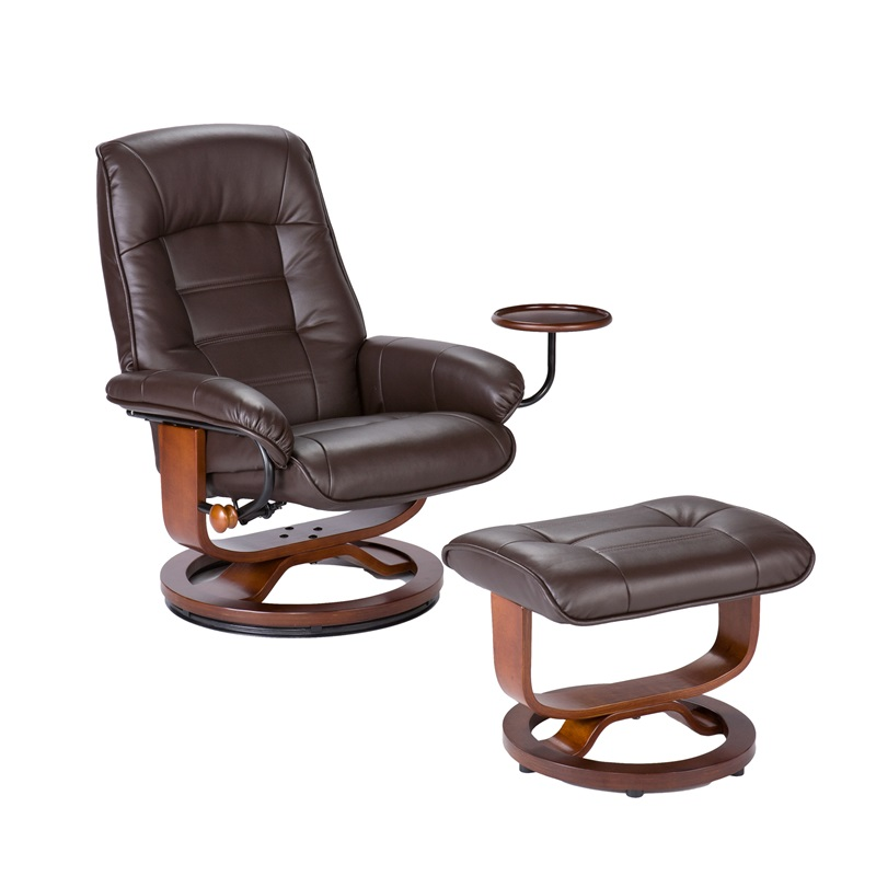 Bonded Leather Birch U Base Swivel Glider Reclining Chair With Attached Side
