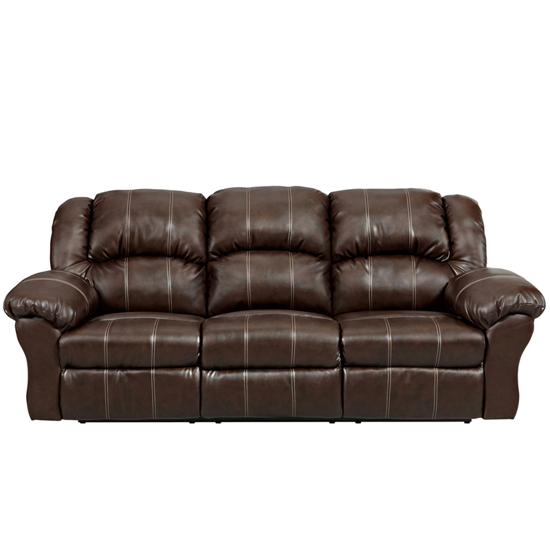 Exceptional Designs Brandon Brown Leather Reclining Sofa ...