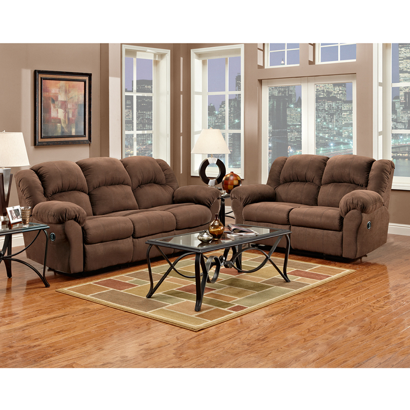 Exceptional designs reclining living room set in aruba chocolate