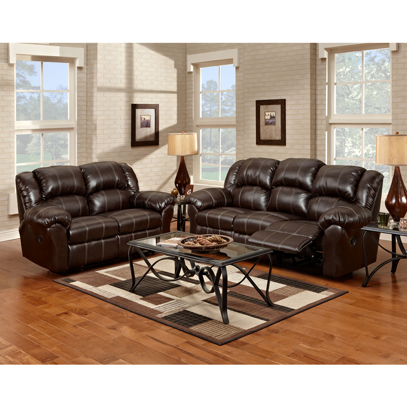 Exceptional Designs Reclining Living Room Set In Brandon Brown Leather 1000B