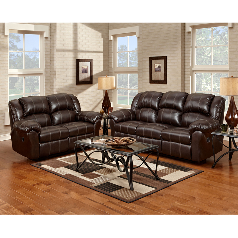 Exceptional designs reclining living room set in brandon brown leather