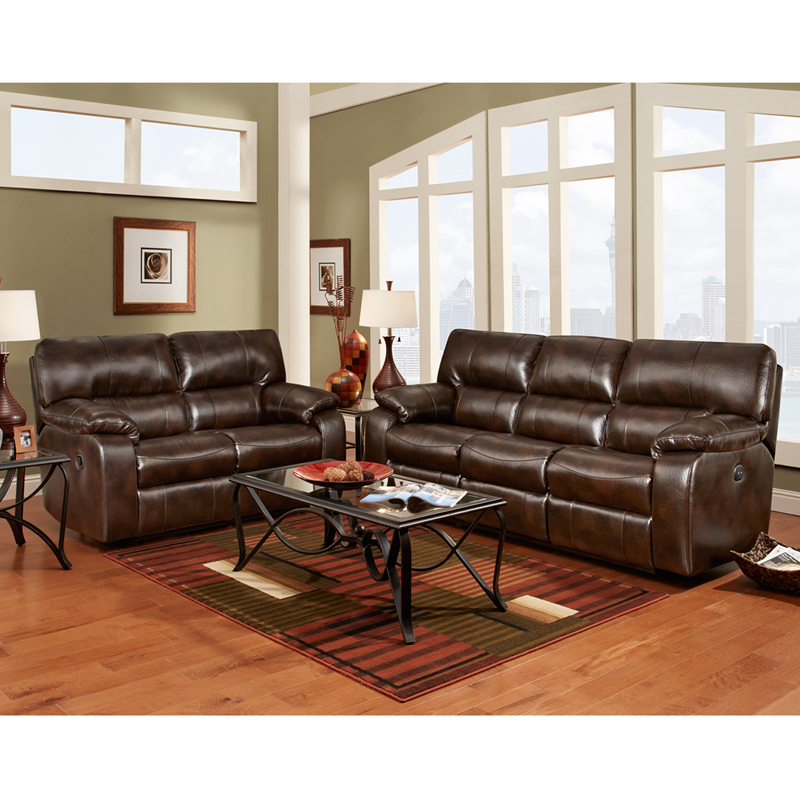 Exceptional designs reclining living room set in canyon chocolate