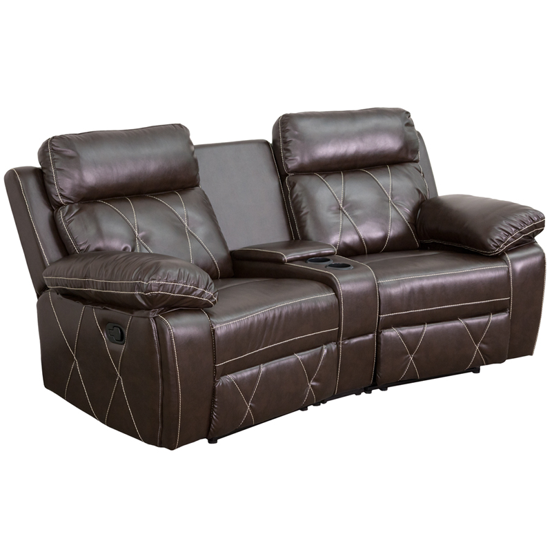 Reel Comfort Series 2-Seat Reclining Brown Leather Theater ...