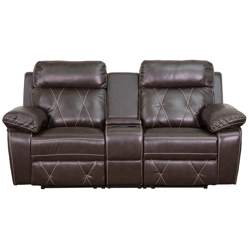 Reel Comfort Series 2 Seat Reclining Brown Leather Theater Seating Unit With Straight Cup
