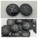 1 dozen 2 tone black and gray 4 hole marble shirt button 15mm.