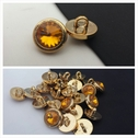 1 dozen of orangey gold acrylic rhinestone self shank button 15 mm.