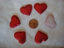 1 Dozen puffed red heart one sided applique 1 wide
