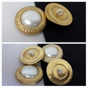 1 lot of 12 golden edge with false pearl in center acrylic self shank button 25mm.