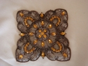 1 Pc Unique Floral Shaped Metal Decorative Fashion Accessory w/ Orange Rhinestones