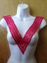 1 Piece Applique Neckline Collar Clear Sequin Pink c5
