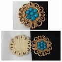 1 piece beige and turquoise flat back craft embellishment great for jewlery or any decoration 38mm.
