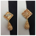 1 piece African design  beige tan acylic floral center pin  brooch 36mm wide.