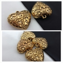 1 piece gold and black LARGE heart shape pendant 33mm.
