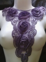 1  piece lavender tulle rose embroidered applique A-8
