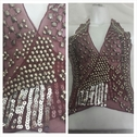 1 piece of burgundy beaded sequins tulle applique. Drw 4