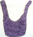 1 piece of Purple Rose chiffon with cord embroidery with tulle applique 9 w L6