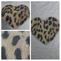 1 piece pale yellow leopard print heart sequins center applique. C11