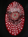 1 Red oval felt material with Red & Silver cupped sequins,7  7/8 L box# A-7