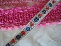 1 y red white silver and blue floral ribbon trim 1/2 inch w