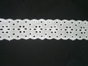 1 y white cotton embroidered double scalloped foral eyelete trim