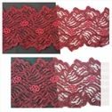 1 yard 2 tone burgundy double scalloped floral design stretch lace trim 4 1/2 inches wide. S4-8