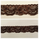 1 yard 2 tone dark brown double scalloped stretch lace trim 1 1/4 inch wide. S1-box