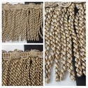 1 yard 3 tone mid brown beige golden mustard long fancy braided flower fringe trim 5 1/4 inch wide.