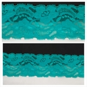 1 yard aqua green double scalloped floral design stretch lace trim. S3-9