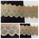 1 yard beige double scalloped turquoised beads heart shape faux suede trim 3 1/8 inches wide.