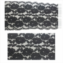 1 yard black 3D double scalloped floral design strecth lace trim 6 inch wide. S6-box