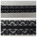 Black double scalloped embrodiered stripped floral design lace trim 1 3/8 inch wide. L6-9