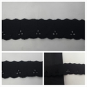 1 yard black double scalloped embroidered 1 1/4 inches wide.