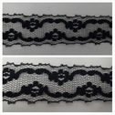 1 yard black double scalloped floral design embroidered 1 1/4 inches wide. L6-9