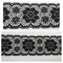 1 yard black double scalloped poly lace trim with floral design 3 inch wide. L9-4