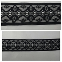 1 yard black embroidered lace trim 1 1/4 inches wide. L6-9