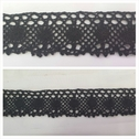 Black scalloped crochet clunny trim 1 5/8 inches wide.