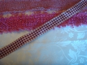 1 yard Burgundy Beige plaid ribbon trim 7/8 wide